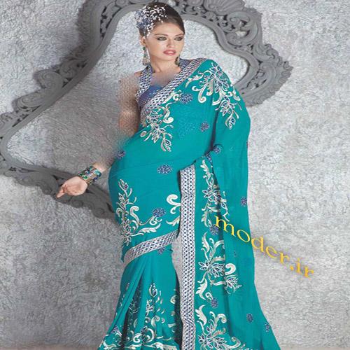 مدل بسیار زیبا لباس مجلسی هندی به رنگ سبز