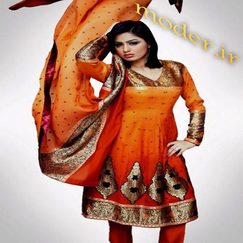 مدل لباس هندی نارنجی بسیار زیبا